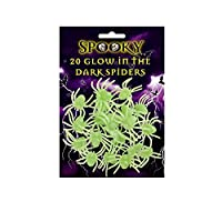 20 X 5CM GLOW IN THE DARK SPIDERS WEB SPOOKY HALLOWEEN DECORATION PARTY