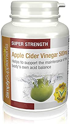 SimplySupplements Apple Cider Vinegar 500mg |Appetite Suppressant & Helps Lower Cholesterol|180 Capsules by Simply Supplements
