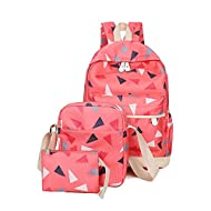 Loisir en Toile Voyage sac à dos + sac à bandoulière + Sac à Stylo 3 PCS Rouge