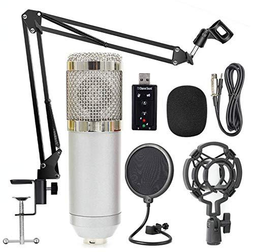 Microphone BM-800 Network K Song-Ankermikrofon-Set USB-Soundkarte 35 Halterung Ausblasnetz Kondensator-Mikrofonset,Silver