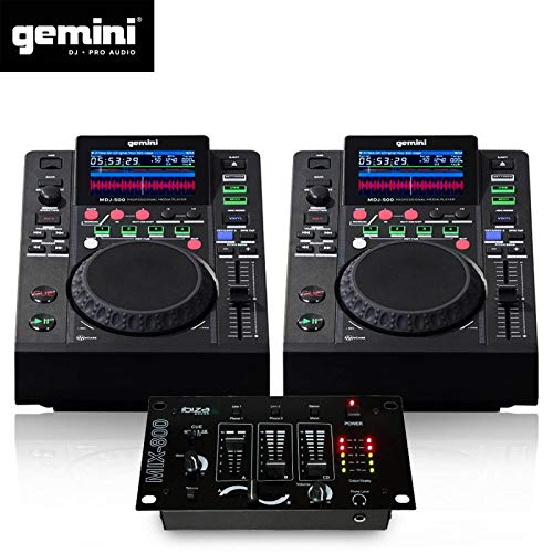 Dualer Plattenspieler LCD Gemini MDJ-500 Pro, USB, MP3, Media Player, Midi-Modus + Mischpult (Midi-player)
