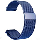 Ersatz Metall Bands Uhrenarmband–Wahl der Farbe & Breite (22mm)–PREMIUM stark Milanaise Loop Bands, (magnetisch), (Magnetic)-Blue