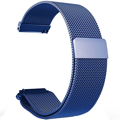 Turnwin Replacement Metal Milanese Loop Bands for Amazfit Pace GPS Running Smartwatch (Blue)