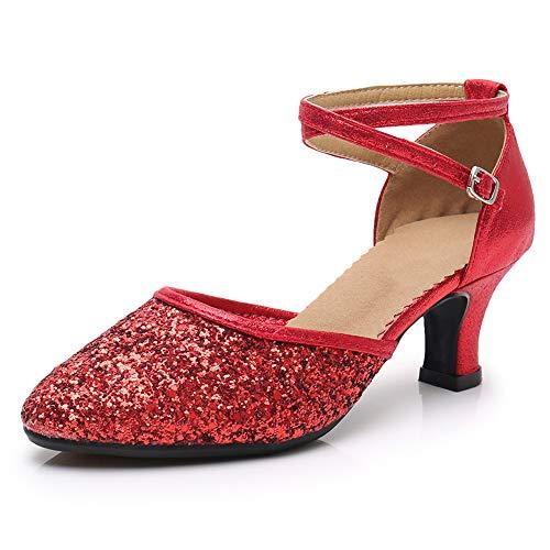 SWDZM Zapatillas de Baile para Mujer/Zapatos de Lentejuelas/Tacón 5CM al Aire Libre Modelo Rojo 40EU/26.0CM