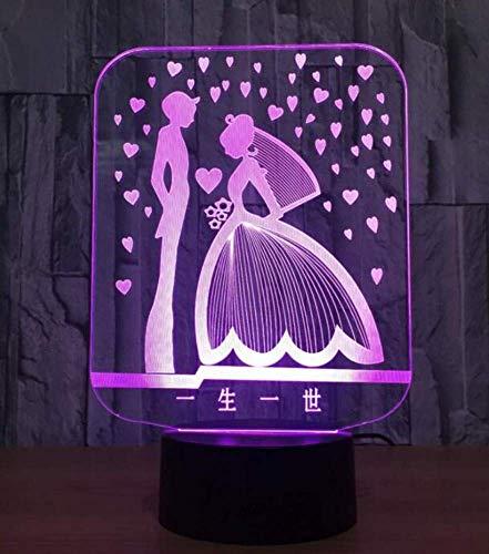 te Led Lampe die Braut und Bräutigam 3D Lampe Led Bunte Romantische 3D Nachtlicht Usb Lampe Hochzeitsgesellschaft Atmosphäre Lampe Als Liebhaber Geschenk für Küche Schlafzimmer Wo ()