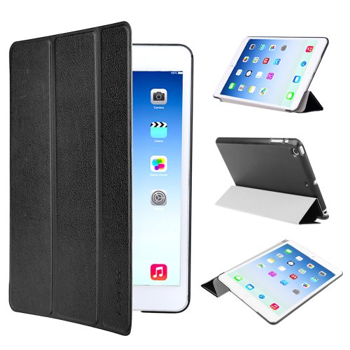 EasyAcc Ultra Slim Apple iPad mini 1 / 2/ 3 Hülle Ledertasche Flip Case Smart Cover mit Wake up und Standfunktion für iPad mini/ iPad mini 2/ iPad mini 3 (2014) - Schwarz, Kunstleder, Ultra Dünn. (Apple Ipad Mini 2 Case)