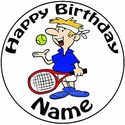 Personalizzata maschio giocatore di tennis–Topper per torta a pre-cut rotondo 8