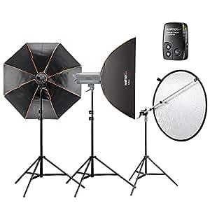 Walimex Pro VC excellence Advance 5.5 Set incl. 2x 500W flash de studio / boîte à lumière / réflecteur parapluie / Déclencheur Flash / Pieds de support / réflecteur
