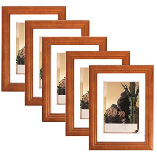 5er Set Bilderrahmen Fotogalerie, 9401-5 , Holz Rahmen , mit Glasscheibe , mit Passepartout, Artos Weiß, 10x15 cm