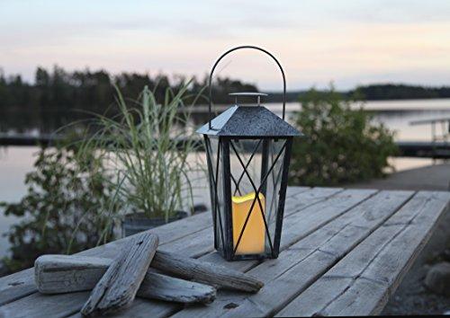 Romantisch dekorative XL - LED Laterne 33 cm x 14 cm aus Metall und Glas - verzinkt - dadurch verbesserter Schutz gegen Rost und Korrosion - mit LED - Kerze flackernd - inklusive Timer, für Innen und Außen - Bereich - OUTDOOR - NEU - aus dem KAMACA-SHOP -
