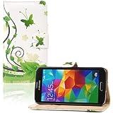tinxi® 200650001Schutzhülle aus Leder/PU für Samsung Galaxy S5Schmetterlinge grün/Hintergrund weiß