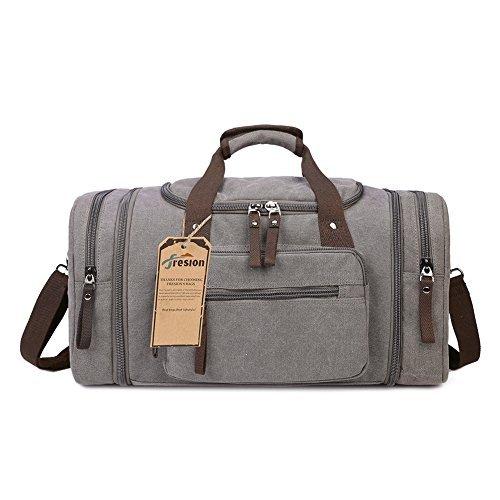 Fresion Große Reisetasche Canvas Sporttasche Schultertasche Tote Handtasche Männer Weekender Tasche Duffle Bag für Frauen & Männer mit 44L (Grau)