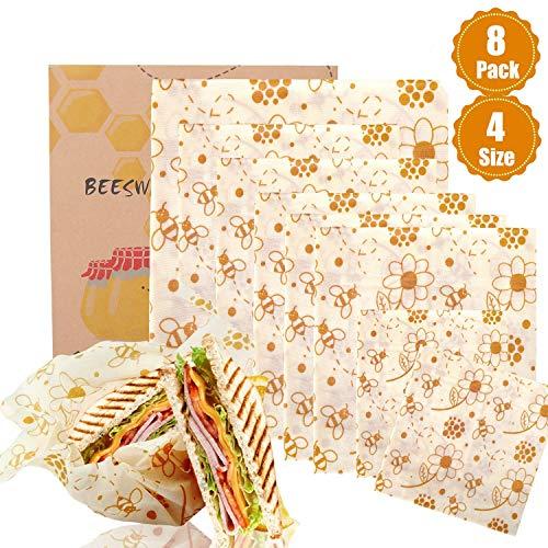 BALFER Bienenwachs-Wraps 8er-Set, Wachspapier Bienenwachstücher aus natürlichem Bienenwachs und Öko-Tex Baumwolle, für natürliche Lebensmittelaufbewahrung, Keine Abfälle...