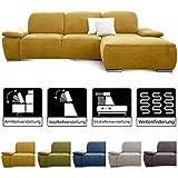 CAVADORE Ecksofa Tabagos / Große Couch mit Longchair rechts / Sitztiefenverstellung / Kopfteilverstellung / Armteilfunktion / 283 x 85 x 187 / Gelb