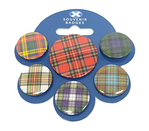 d Scottish Tartan Checkers Flagge Souvenirs Metall Button Pin Abzeichen Badge Vintage Retro Mix Farbe Pack Bulk Joblot Set | Fancy Kleid Party Buttons Hohe Qualität Metall Emaille Button Neuheit zum Sammeln Geschenk Schmuck für Kleidung Shirt Jacken Mäntel Krawatte Hüte Kappen Taschen Rucksäcke ()