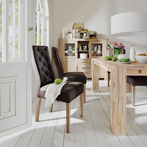 Sit Möbel Sit&Chairs Stuhl, 2er-Set Bezug Pellini-Leder, Beine Eiche L = 49 x B = 64 x H = 100 cm Bezug Dunkelbraun, Beine Natur (Sofa Eiche Leder)