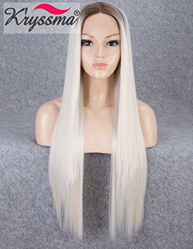 K'ryssma Perücke mit Spitzenfront, Blond, glatt, Kunsthaar, mit braunen Wurzeln, hitzebeständig, 55,9 cm