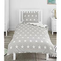 Bloomsbury Mill Grey & White Stars - Reversible Bedding Set - Junior/Toddler/Cot Bed Duvet Cover & Pillowcase