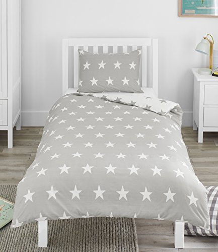 Bloomsbury Mill Grey & White Stars - Reversible Bedding Set - Junior/Toddler/Cot Bed Duvet Cover & Pillowcase