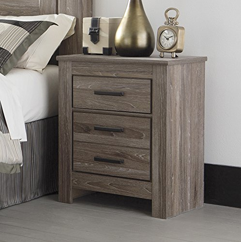 Ashley Furniture Signature Design Nachttisch, Eichenholz, 2 Schubladen, modern, warmes Grau -