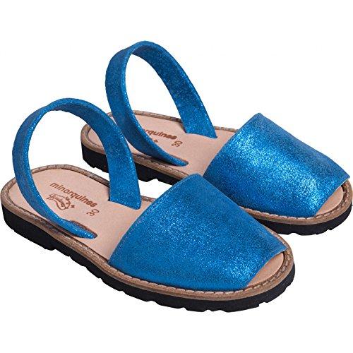 Sandales fille bleu irisé Minorquines Bleu