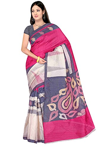 Winza Designer Cotton Saree with Blouse Piece (1133+(pink)!_White and Trendy Pink!_Free Size)