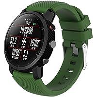para HUAMI Amazfit Stratos Smart Watch 2,Correa de Reloj Suave de Silicona Banda Deportiva Absolute (Verde del ejército)