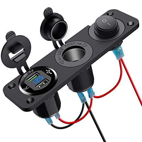 ZBLighting Doppia Presa accendisigari QC3.0, Impermeabile, Doppia USB, Adattatore di Alimentazione con Due Porte USB in Alluminio, Illuminato a LED, per Auto, Barca, Moto, Camio