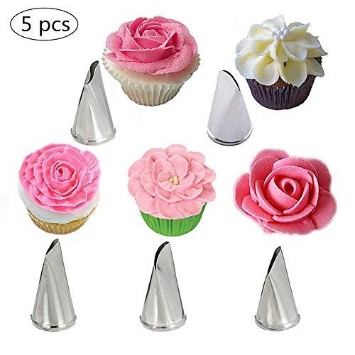 KANKOO Kuchen-Zuckerdüsen-Zuckerguss-Spritzdüsen-Set Zuckerguss-Düsen-Set Zuckerdüsen-Tipps Spitzen-Vereisungs-Düsen Edelstahl-Blüten-Vereisungs-Düsen für Cupcakes