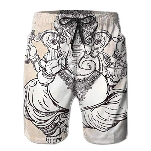 Men Swim Trunks Beach Shorts,Asian Figure In Lotus Pose Holding An Axe Flower Paisley Zen Chakra,Quick Dry 3D Printed Drawstring Casual Summer Surfing Board Shorts L