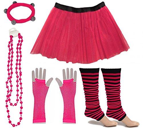 A-Express Frauen kostüm 80er Jahre Neon Tutu Streifen Beinstulpen Fischnetz Handschuhe Tüllrock Karneval Tüll Damen Fluo Ballett Verkleidung Party Tutu Rock Kostüm Set (36-44, Rosa ()