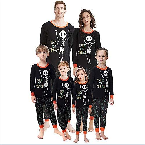 Kostüme Familie Passenden Lange Ärmel Brief Skelett Gedruckt Outfits Eltern-Kind Kleidung T-Shirt Top + Hosen 2er Set Papa Mama Kinder Spiel T-Shirts Familie Kleidung Sets ()