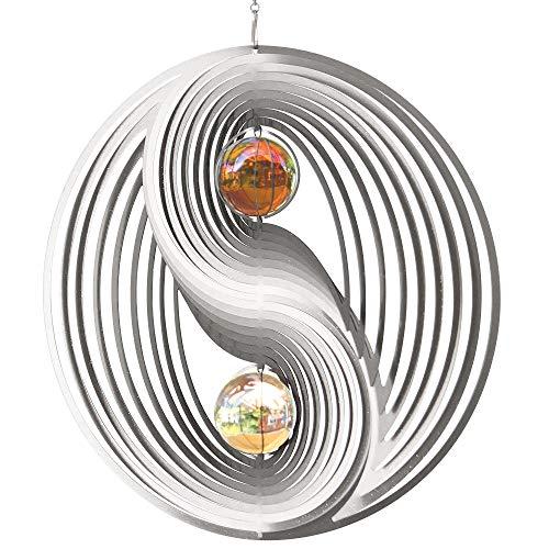 Edelstahl Windspiel - ORBIT YINYANG 300 - Ø300mm - Kugeln: 2xØ50mm - inklusiv Kugellagerwirbel, Haken und 1m Nylonschnur
