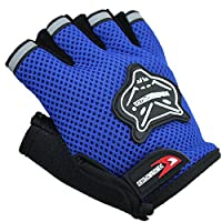 PerGrate Child Bicycle Gloves Half Finger Breathable Non-Slip Riding Cycling Protective Rate, blue