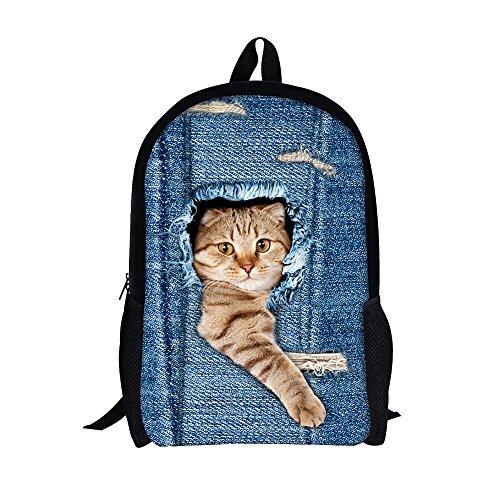 Moolecole Unisex 3D nette Katze Muster Daypack Rucksack Jungen-Mädchen-beiläufige Schule-Beutel-Rucksack-Karikatur-Muster-Schulter-Beutel Ideal für Schule und Reisen (Cat1 Large) (Big Bag Sports Cat)