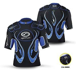 OPTIMUM Jungen-Sportshirt/Schutzkleidung, mit Schulterpolstern, Inferno-Aufdruck, Jungen, Inferno, schwarz/blau