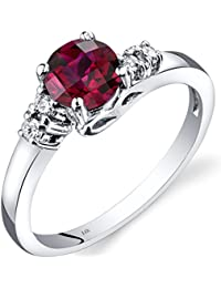 Revoni 14ct White Gold Created Ruby Diamond Solstice Ring