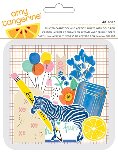 American Crafts Amy Tan Finders Keepers-Die Cuts 48/Pkg-Cartoncino e acetato, in diverse forme, multicolore