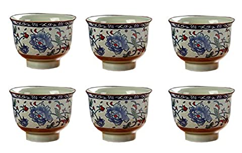 Set of 6 Old-Fashioned Chinese Blue Floral Small Teacups