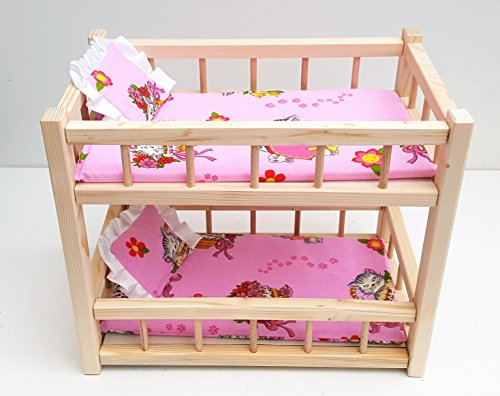 "Wooden toy bunk bed for 2 dolls, fit dolls size 14"" long"