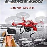 Booming Rc-Flugzeug-Drohnen-Hubschrauber-Fernsteuerungsspielzeug-Auto S30W 2,4 GHz GPS FPV RC-Drohne Quadcopter mit 720P HD Kamera WiFi Headless Modus (Rot)