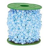 P Prettyia 60m Party Diy Schnur Perlen Kette Perlengirlande Für Hochzeit Taufe Weihnachten DIY Handwerk Braut Haarschmuck Brautstrauß 8mm + 3mm - Blau