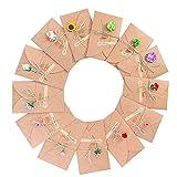 ZARRS Biglietto di Auguri Buste,13 Pack Cartoncini Augurali Fatti a Mano retrò Kraft Carta Vuote Cartone per Anniversario Matrimonio Compleanno Natale Inviti Lettera