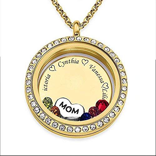 Runde Form Custom Personalisierte Anhänger Halskette bis zu gravierten 5 Namen und Birthstone für Mama Oma (Geburtsstein Oma Geschenke)