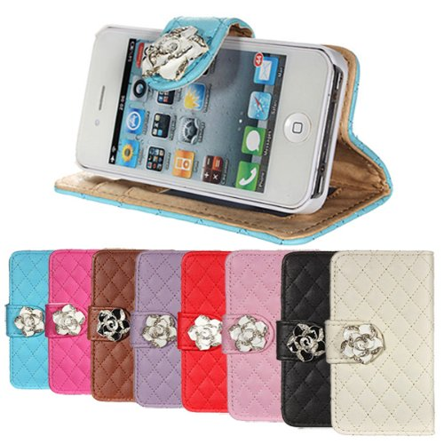 Crystal Rose Flower flip PU cuir Wallet Case Cover pour iPhone 4 4S marron