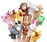 #3: MOLITONG Children Kids Educational Story Cute Animal Finger Puppet Hand Toys Series Pack of 12