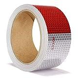 ONTWIE 5cm x 10m Nastro Riflettente di Sicurezza, Adesivo Riflettente Rosso Bianco per Rimorchi - Adesivo Riflettente Adesivo Conspicuity Adesivo Alta Intensità Impermeabile