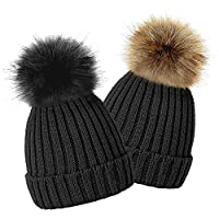 TOSKATOK Kids Girls Winter Beanie Bobble Hat with Detachable Changeable Faux Fur Pom Pom