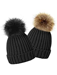 e81bdb4b833 TOSKATOK® Bonnet à Pompon d hiver de Enfants Filles avec Fourrure Fausse  Variable Détachable