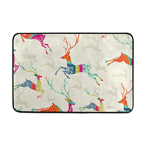 jstel Weihnachten Elk-Fußmatte waschbar Garten Büro Fußmatte, Küche ESS-Living Badezimmer Pet Eintrag Teppiche mit Rutschfeste Unterseite 59,9x 39,9cm